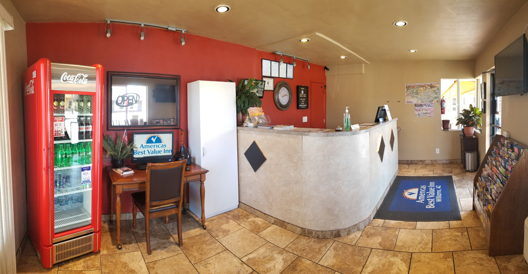 Front desk and lobby with business center and vending machine