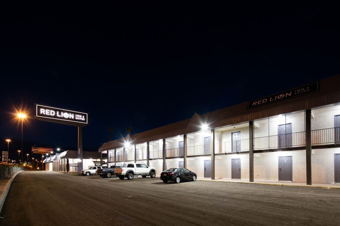 Night Exterior with ample parking lights