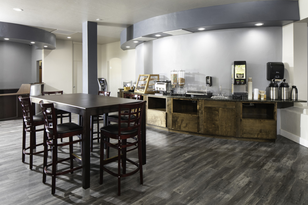 Continental Breakfast Bar with Dining Room Table , chairs, ATM