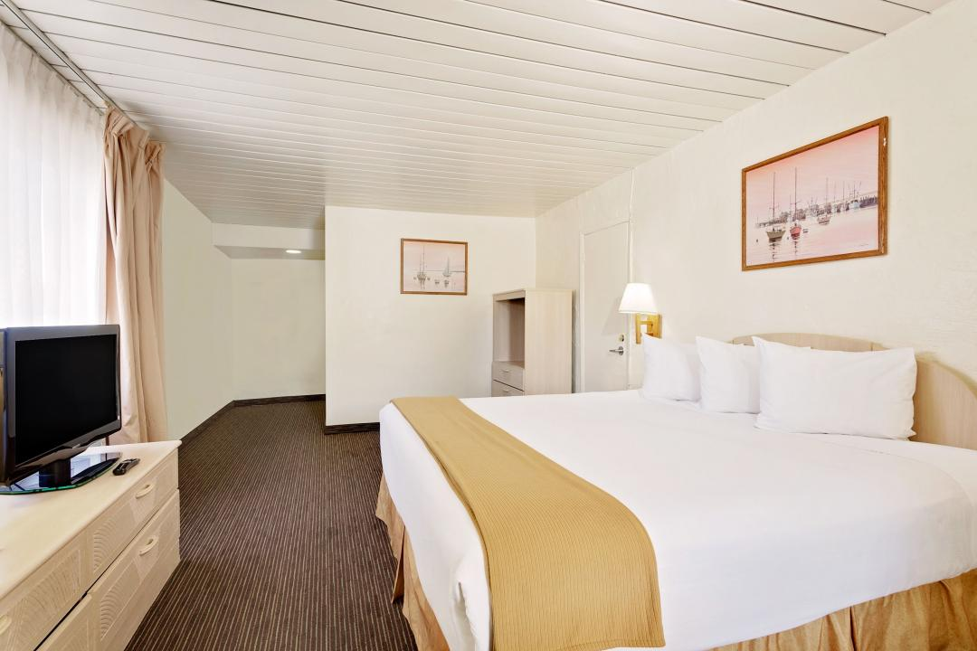 Spacious guest room with one king bed