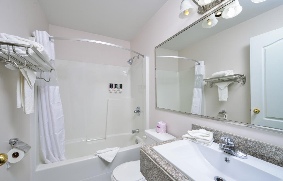Modern bathroom with vanity and toilet and tub