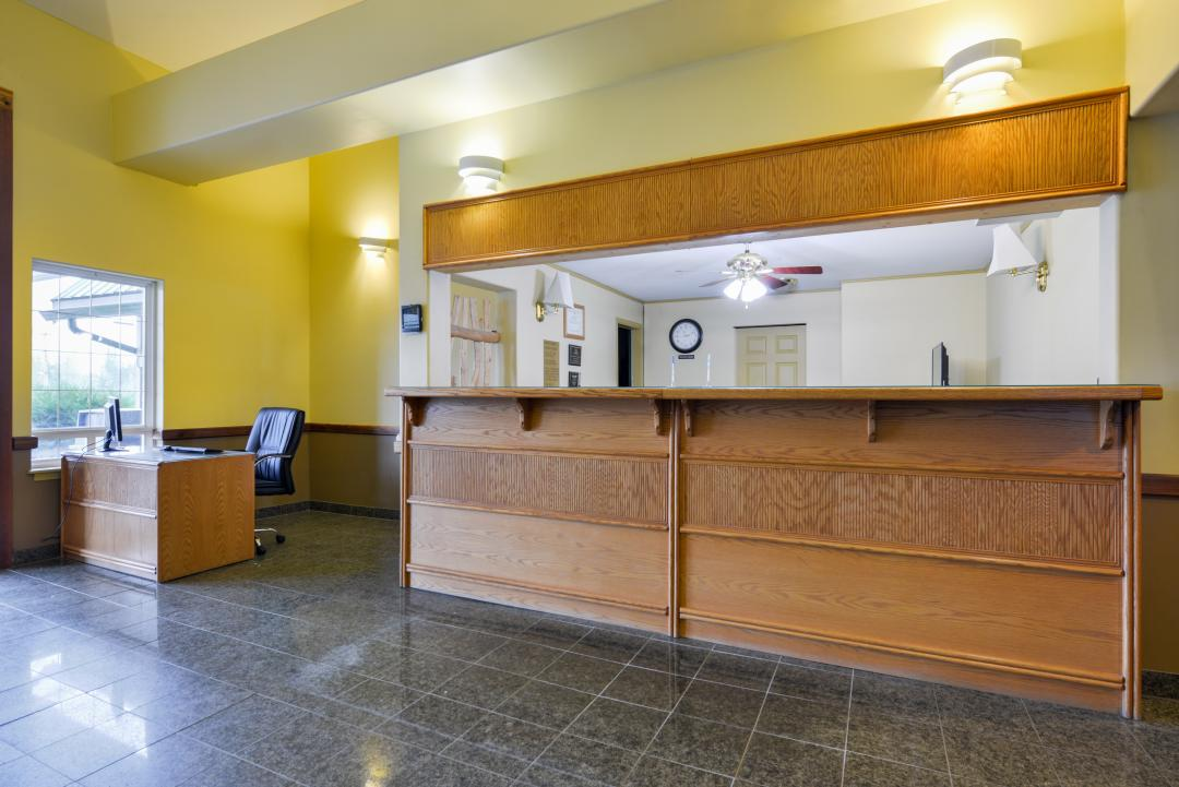 front Desk and lobby with business center desk