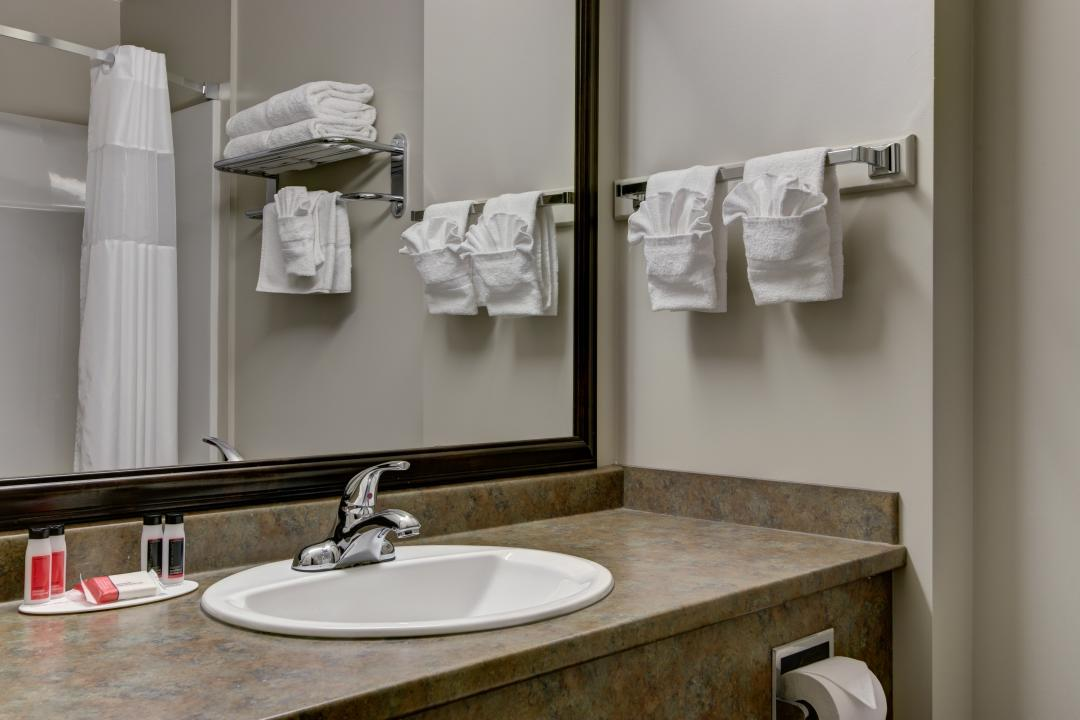 Guest Room Bathroom with Towel and Amenities