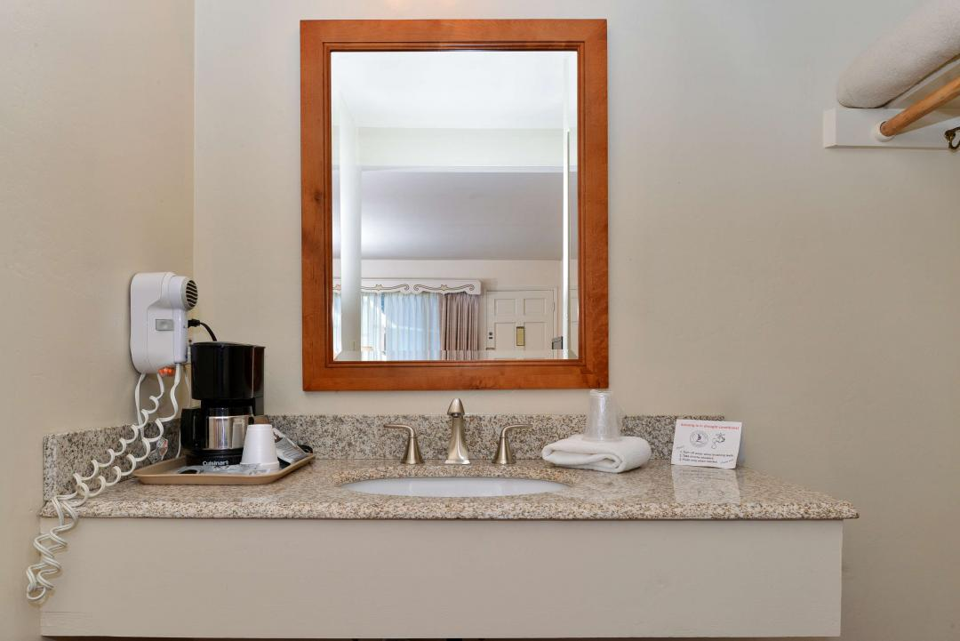Spacious Guest Vanity with a large mirror