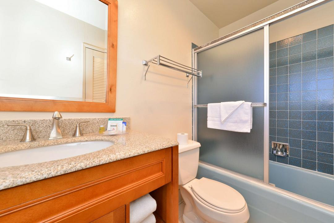 Spacious Guest Bathroom with a vanity, toilet, and bath tub.