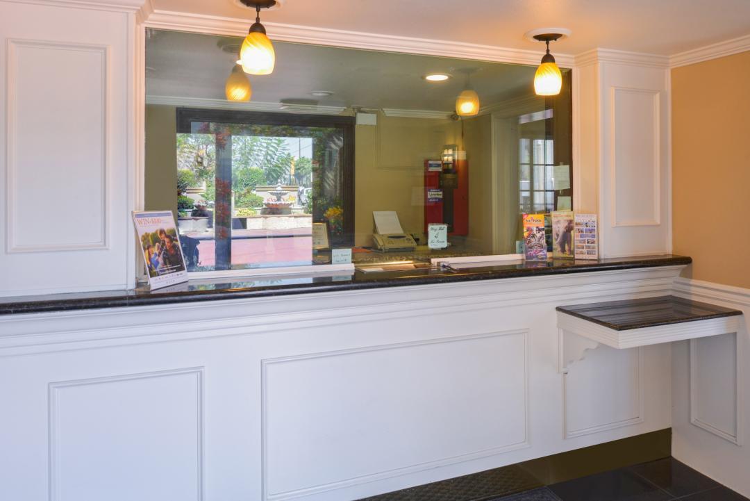 Granite front desk check in area