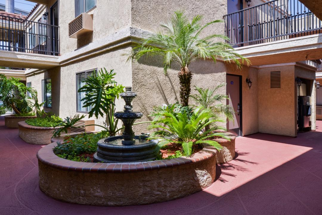Outdoor fountain in hotel courtyard