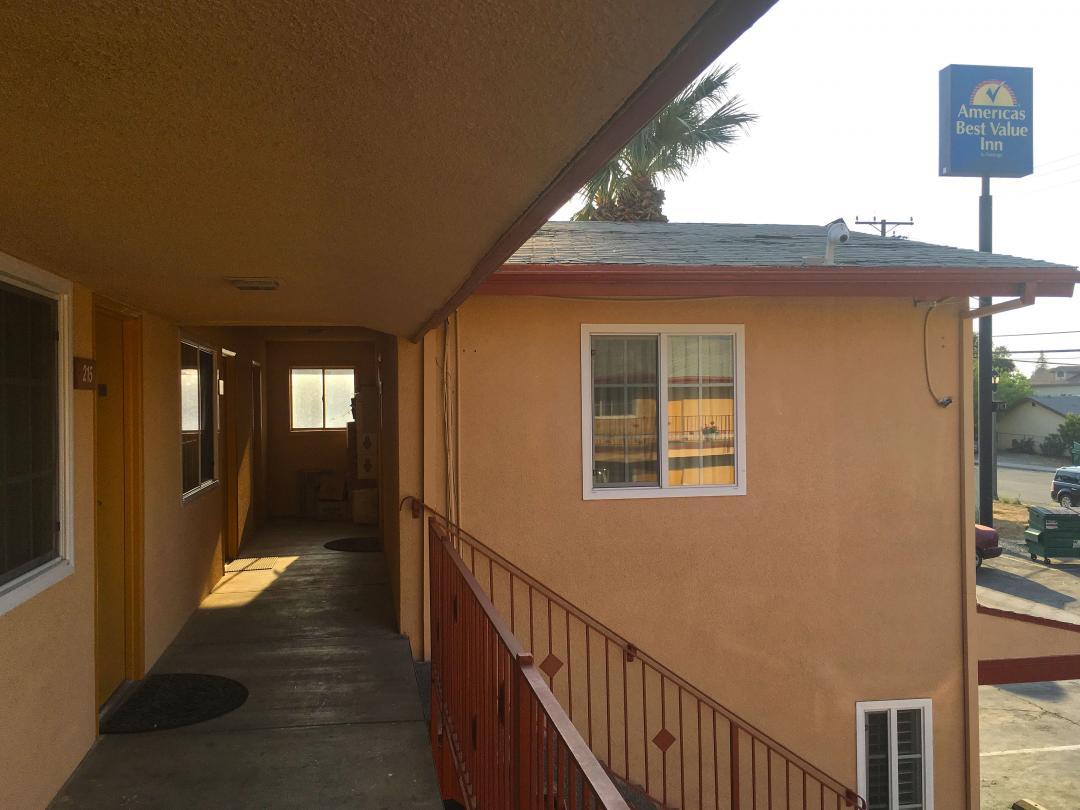 Corridor view of stairwayto second floor guestrooms