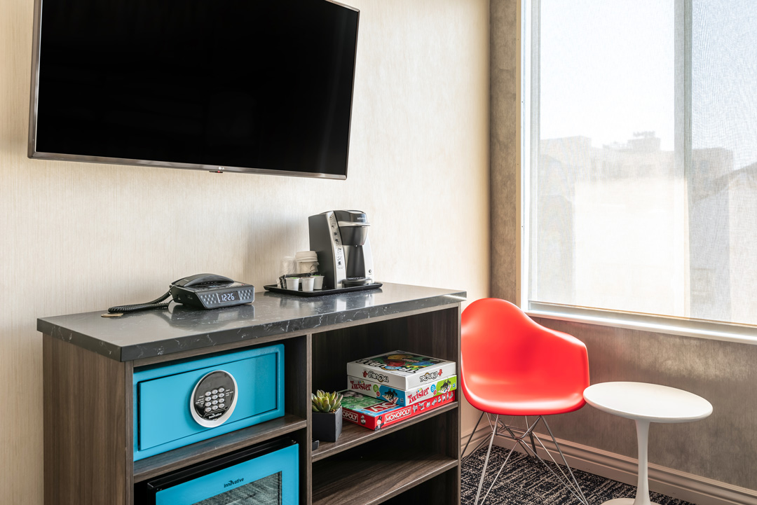 Guest room sitting area and TV