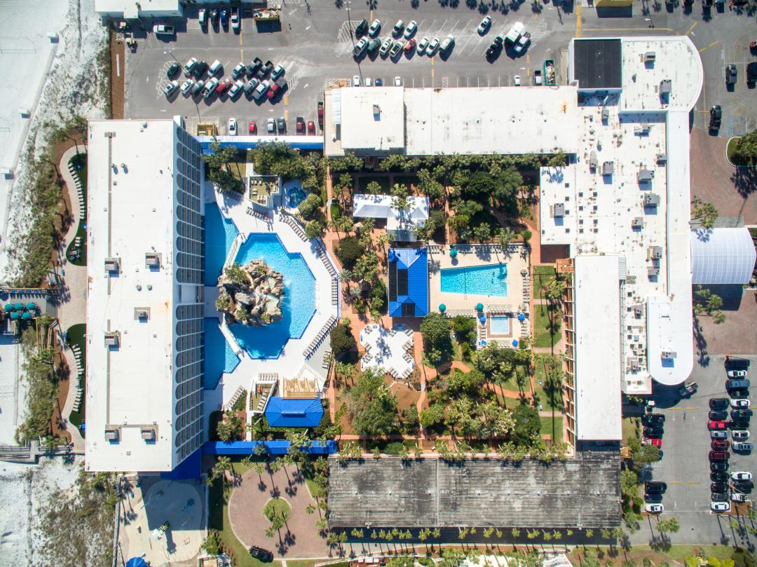 Arial view of hotel and grounds