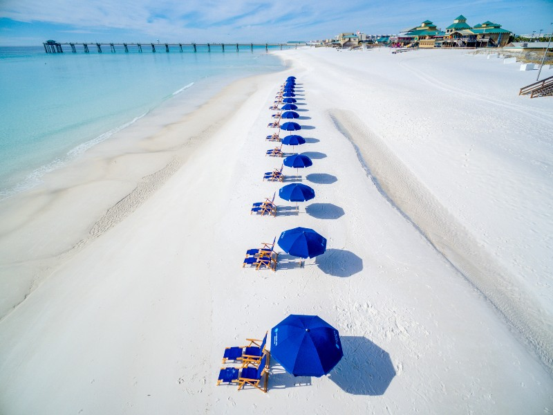 Umbrellas and chairs along beach front
