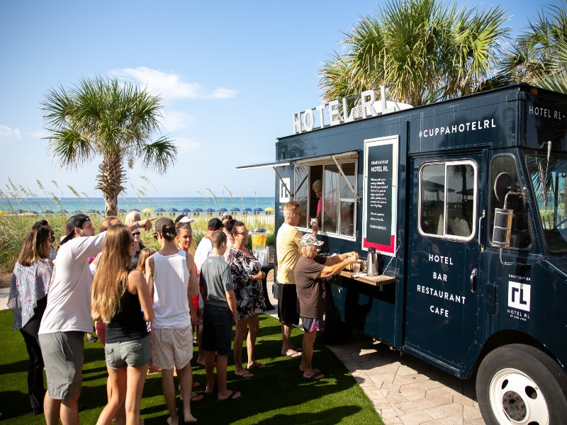 Outdoor food truck area