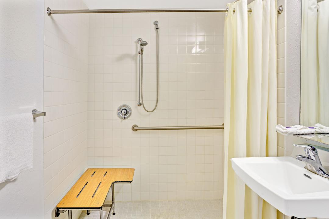 Clean, well lit guest room sink and walk-in shower with grab bars