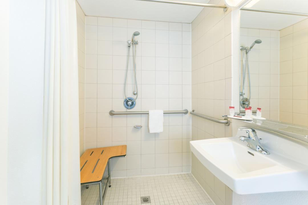 Handicap accessible roll-in shower with bench, handrails and shower wand