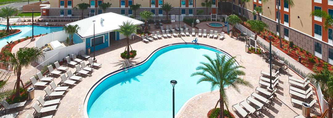 Aerial view of hotel outdoor pool area
