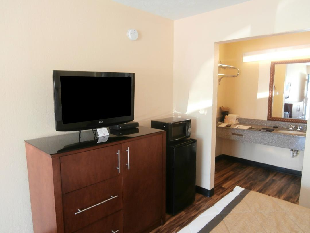 Hotel Room TV and Amenities