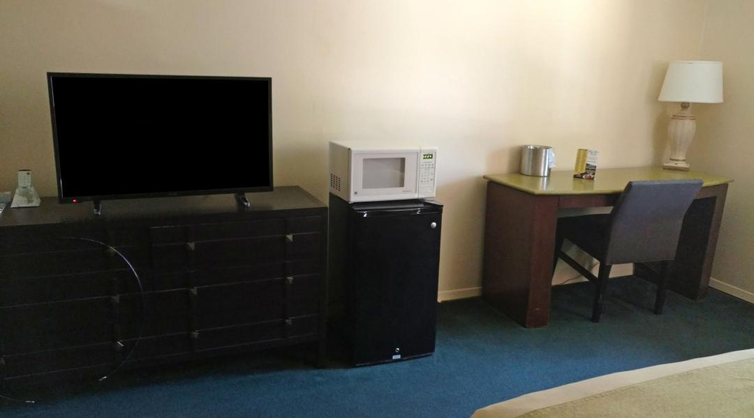 Guest Room TV, Microwave, and Fridge