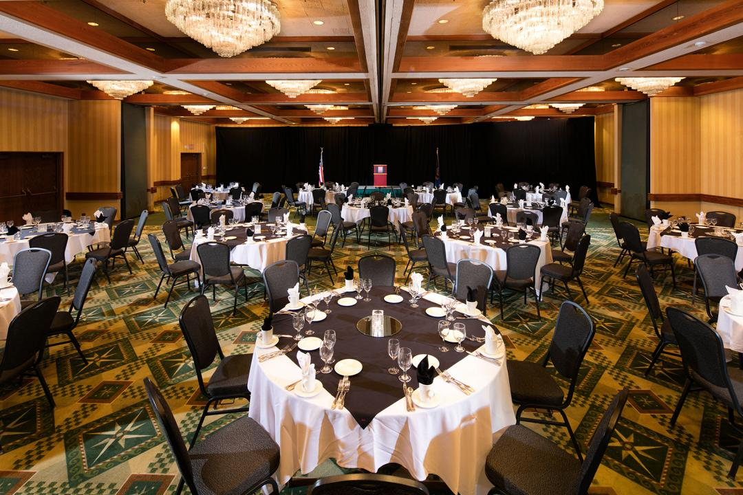 Spacious ballroom set for formal dining