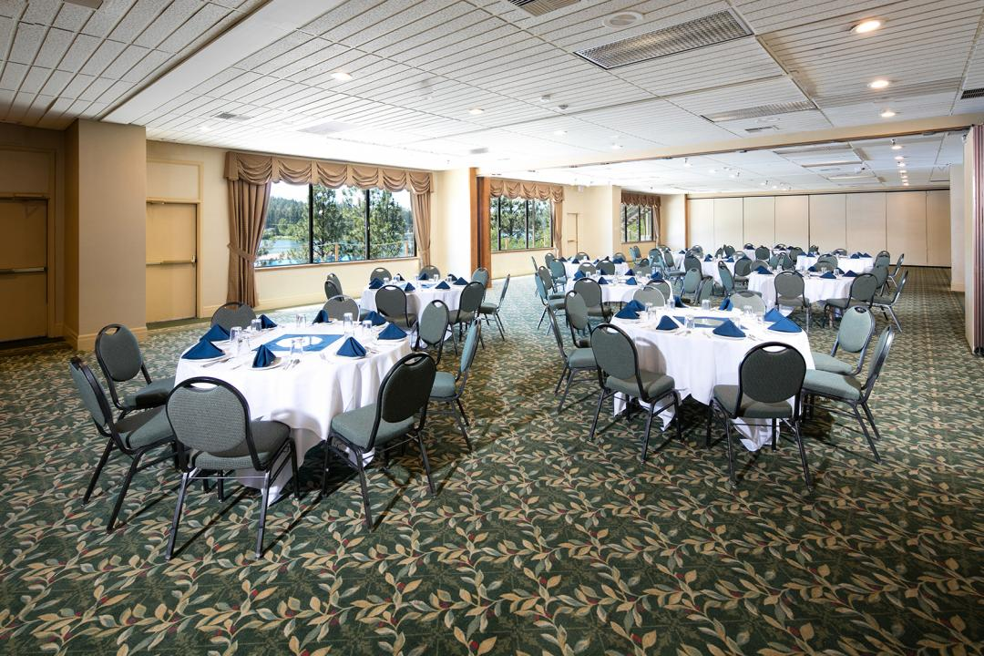 Large Banquet Ballroom with Tables and Chairs
