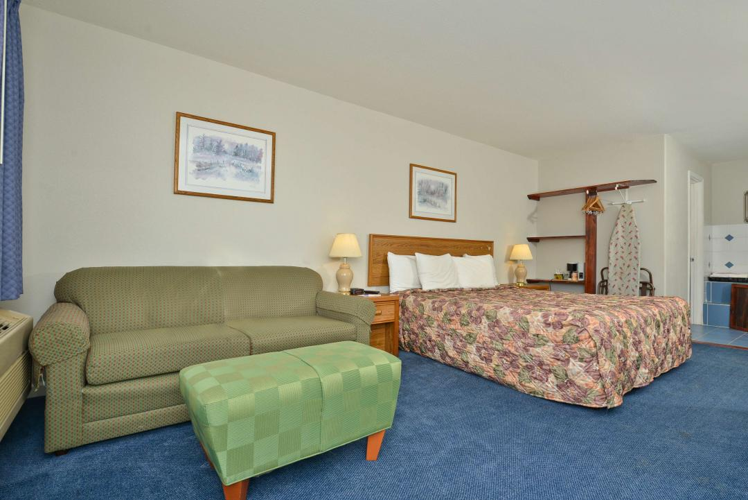 Jacuzzi Suite with sofa, ironing board, queen bed