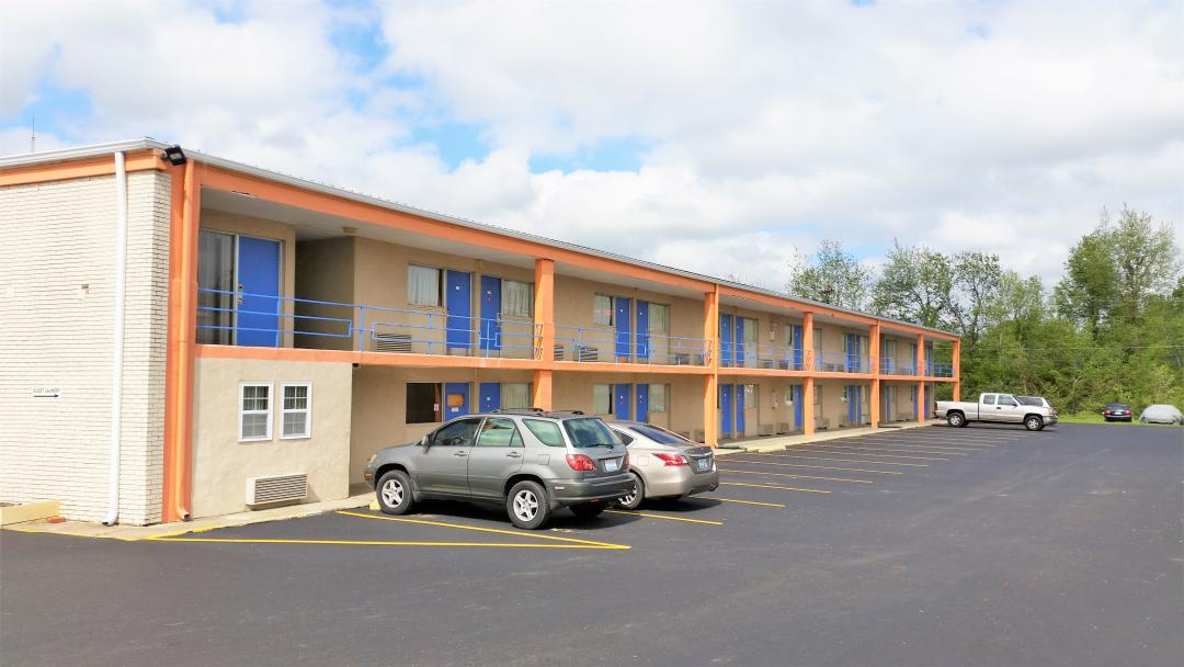Exterior two story building and parking lot