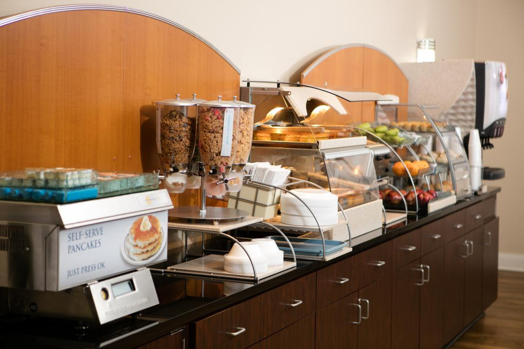 Breakfast Counter with cereal and fruit