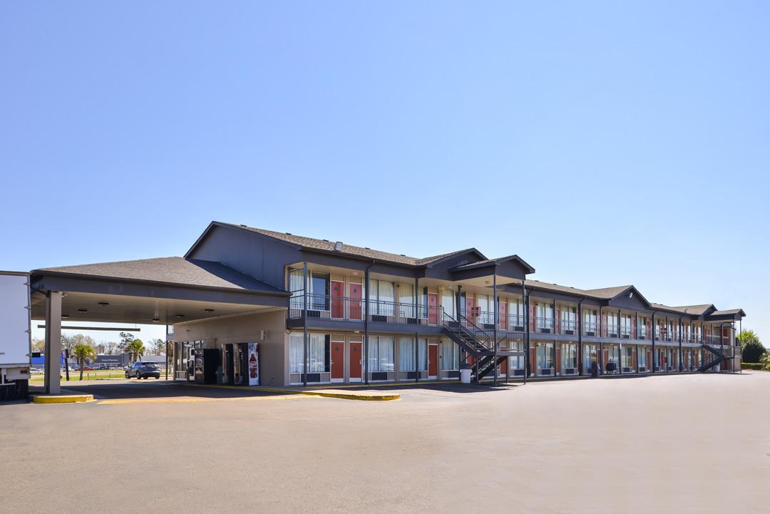 Hotel exterior on sunny sky