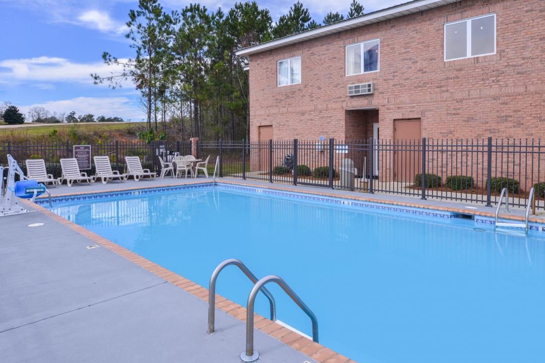 View of our outdoor pool and handicap accessible lift