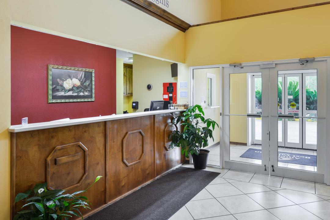 Front desk by entry doors