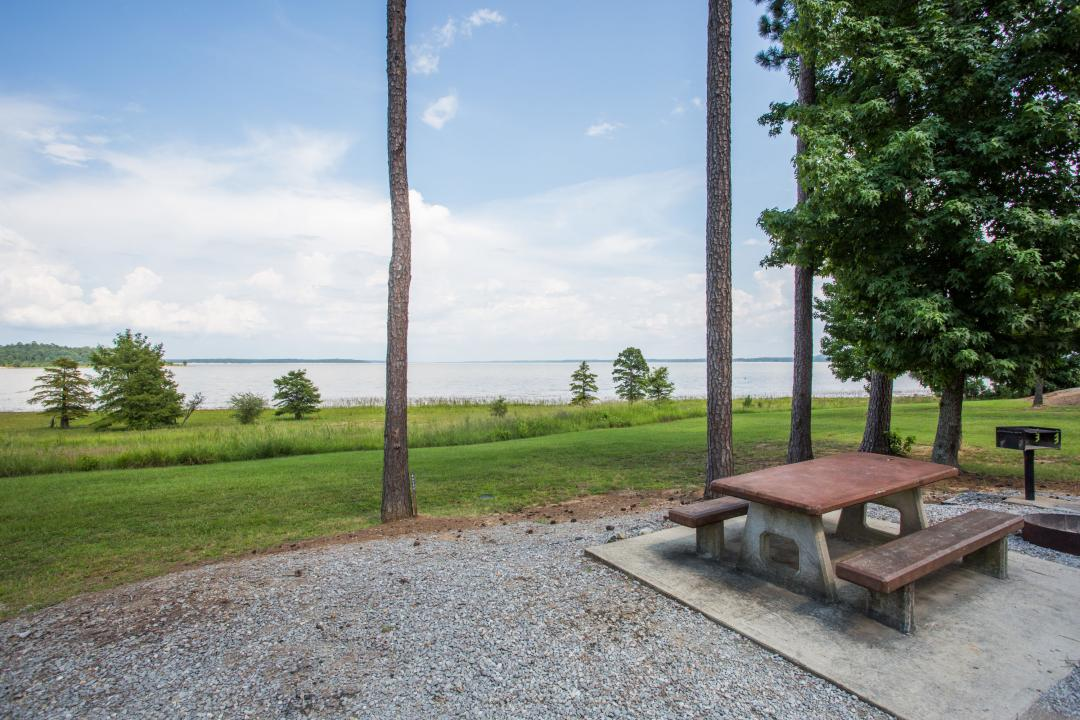 Outside picnic area with water view