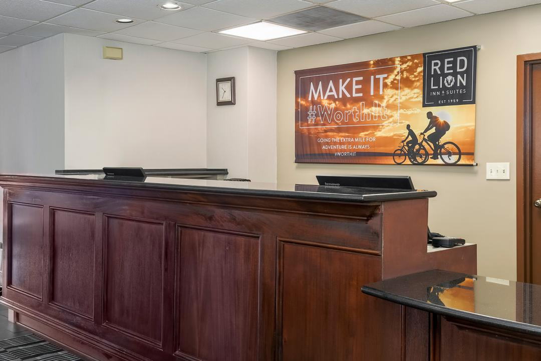 Front Desk with Red Lion Banner