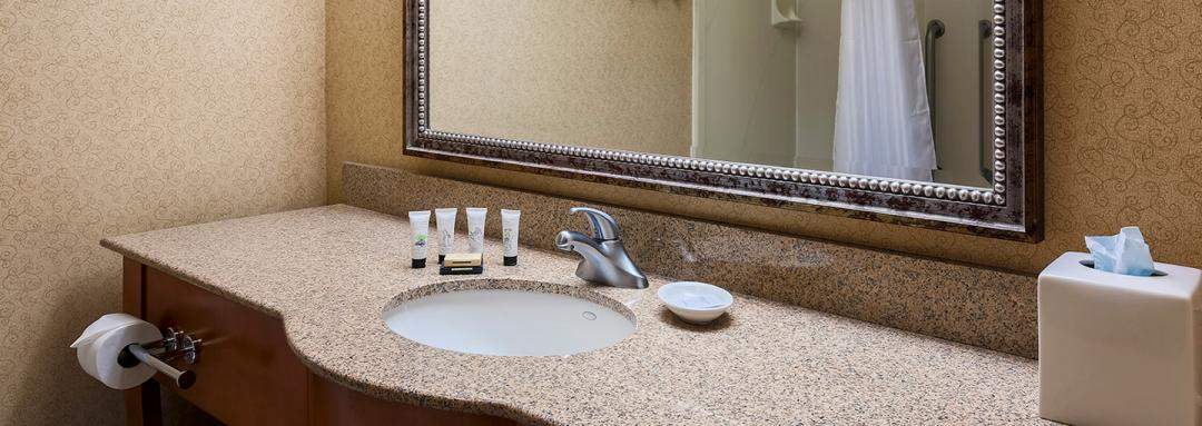 Guest bathroom vanity and sink with bath amenities