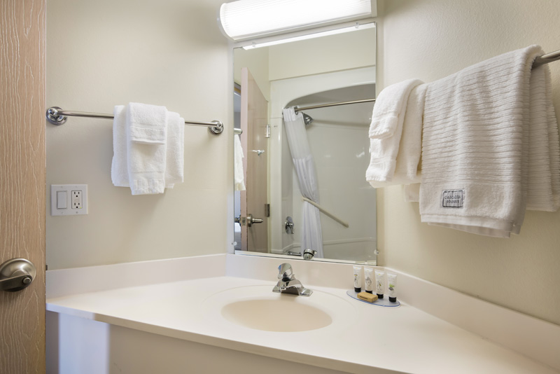 Guest room bathroom vanity area