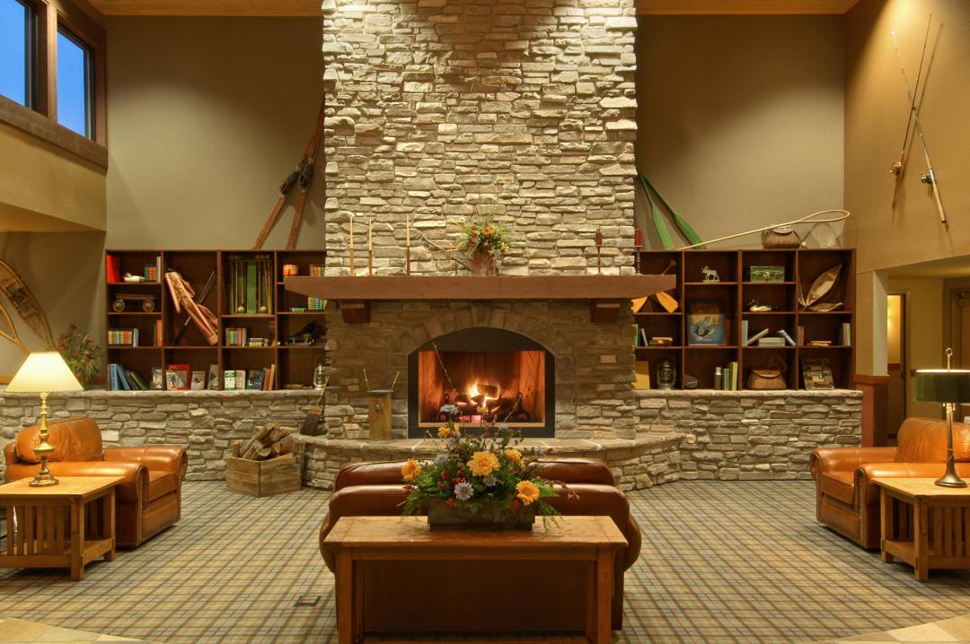 Lobby Fireplace at Red Lion Hotel Kalispell