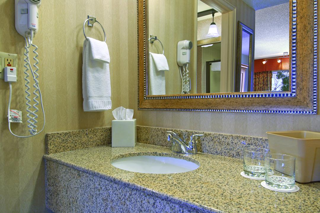Clean modern and well lit guestroom bathrooms