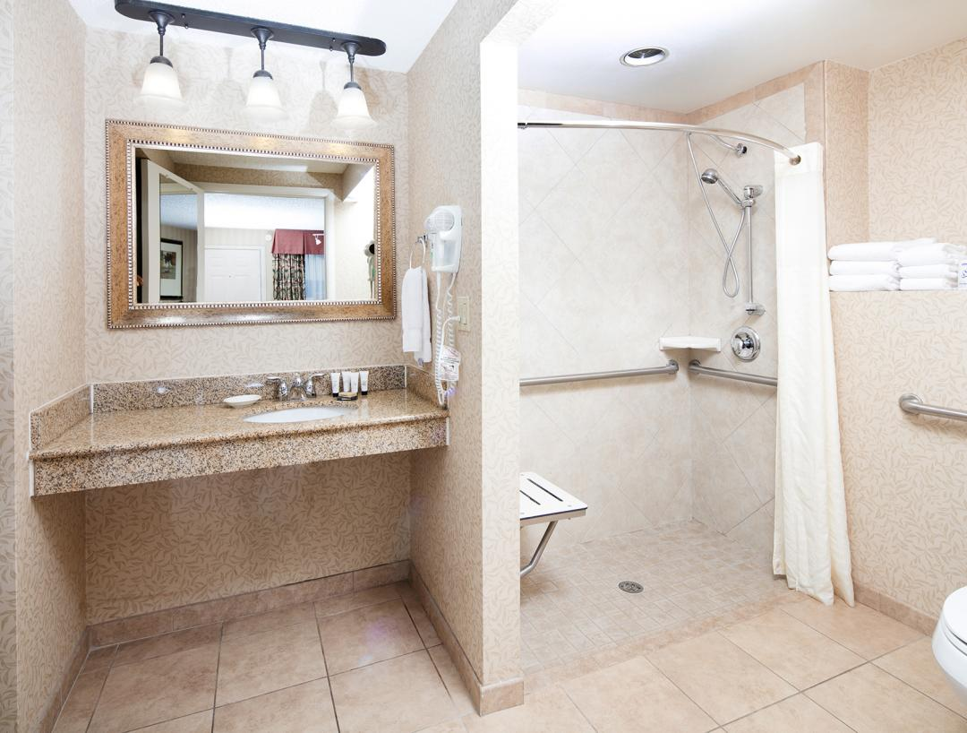 Accessible Guest Bath with Roll-In Shower, Shower Seat and Grab Bars
