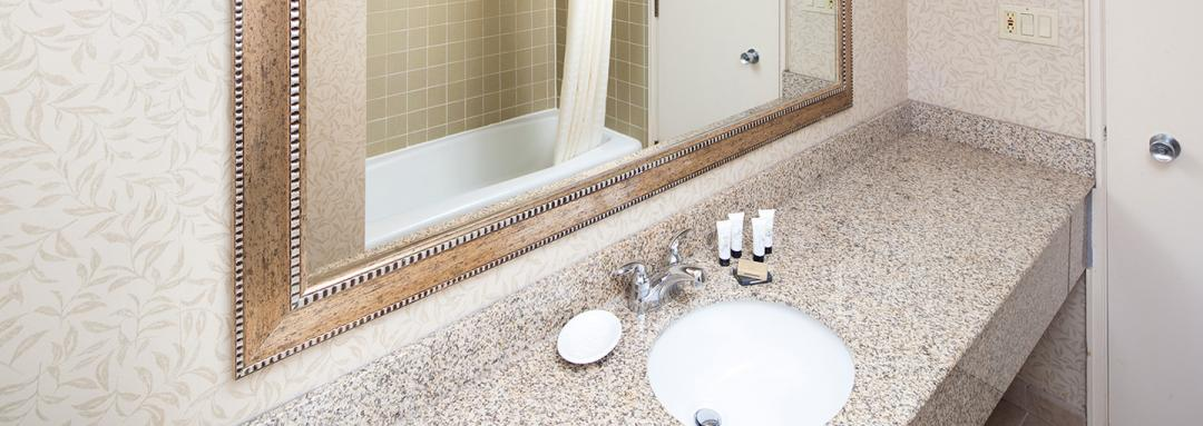 Guest bathroom vanity with sink large mirror and bath amenities