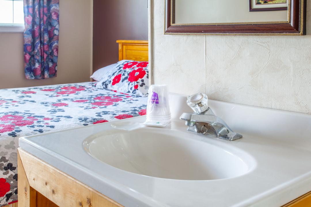 Guest room with one bed and sink