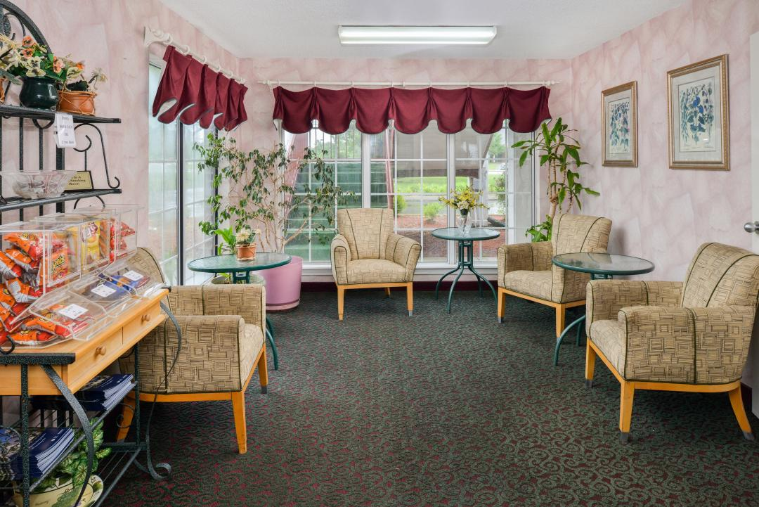 Lobby with Guest Seating and Snacks Available for Purchase