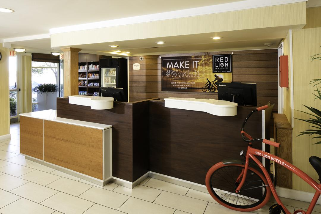 Front Desk with Red Lion Bike