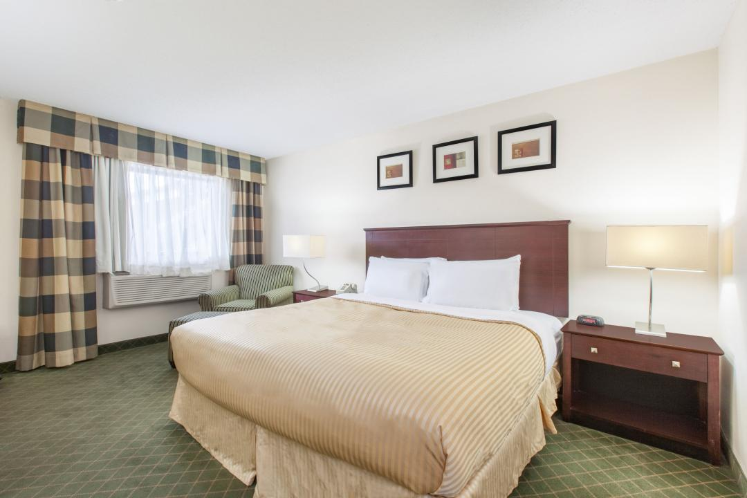 Nicely lit king guest room with white sheets
