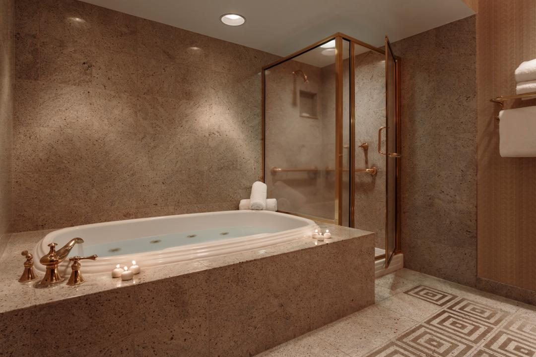 Spacious Guest Bath with Large Jetted Soaking Tub and Separate Stand-Up Shower