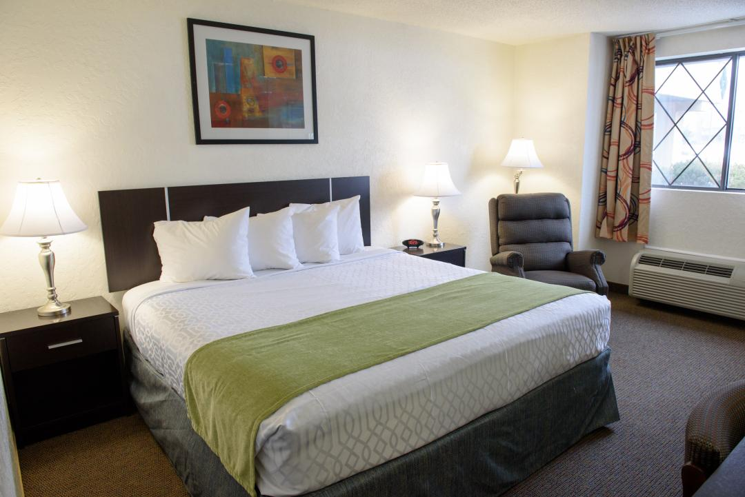 Guest room with one king bed, nightstand and armchair