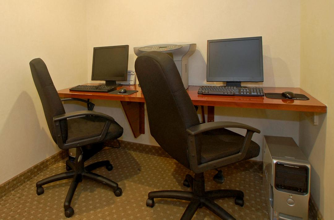 Business Center with Two Workstations and Shared Printer