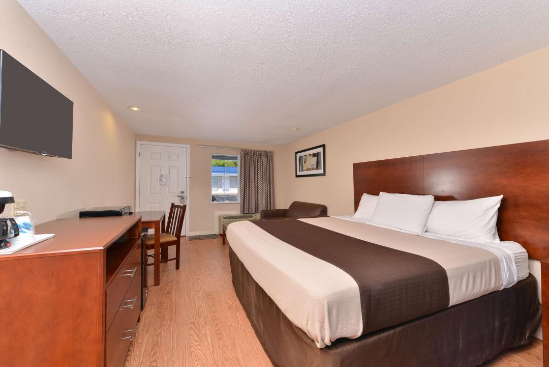 Clean modern king guestroom with hardwood floors