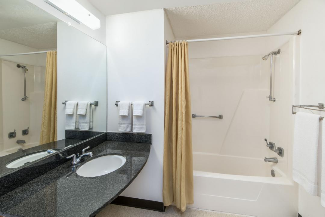 Accessible Guest Room Bathroom with Grab Bars in Shower