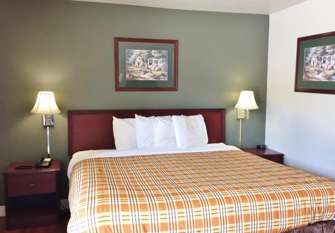 Guest room with one king bed and two nightstands