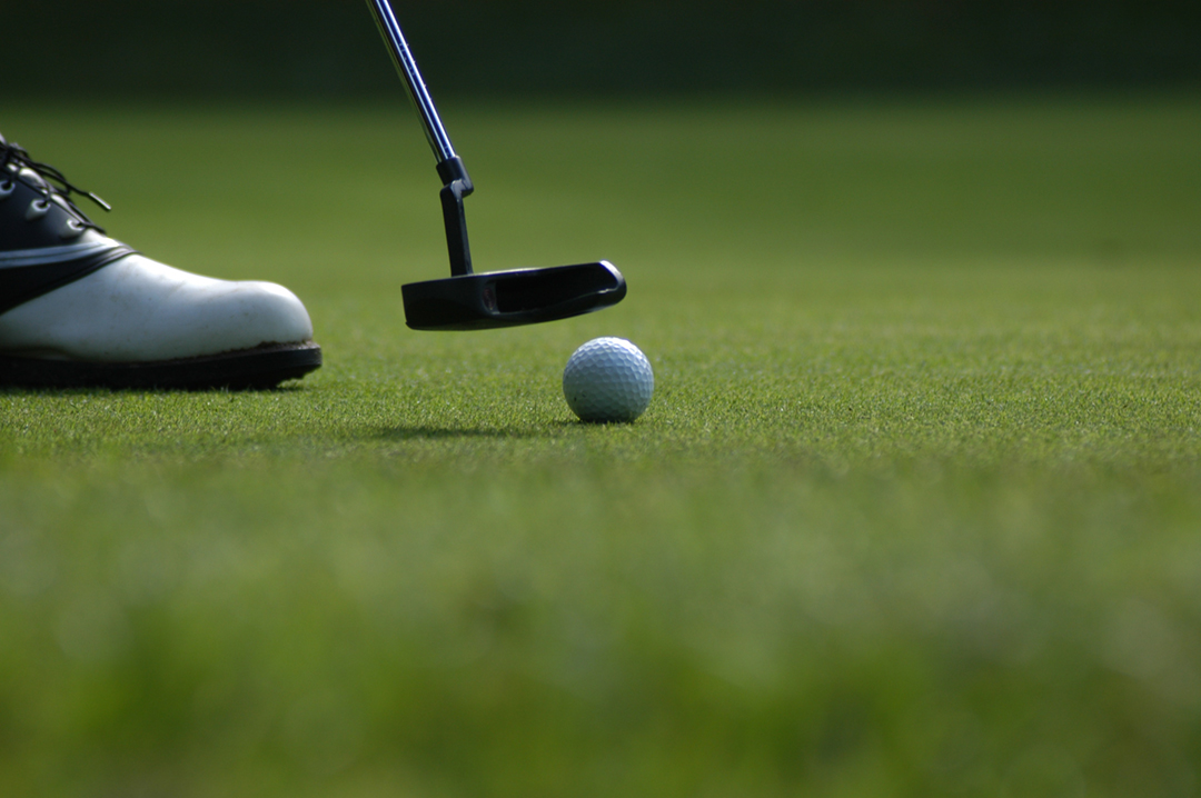 Golf clubs and ball close up