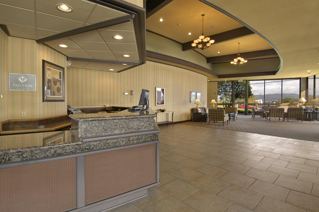 Lobby with views of local hills