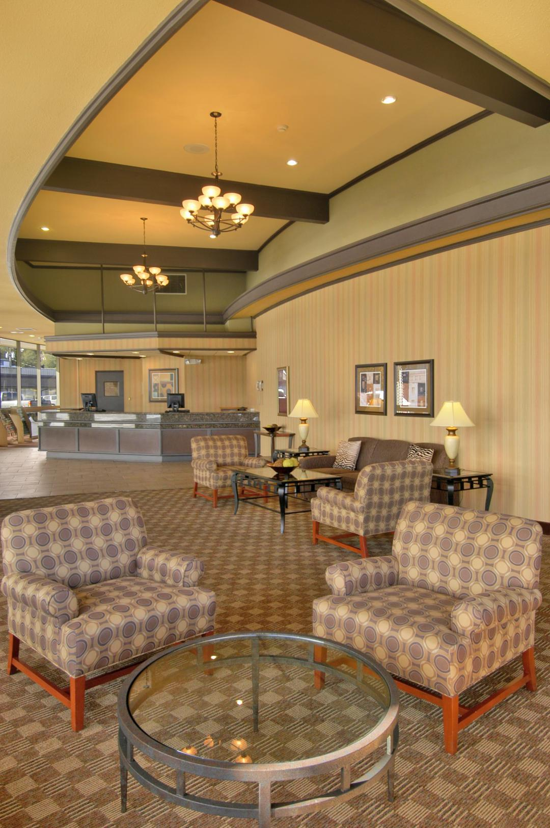 Lobby with high vaulted ceilings